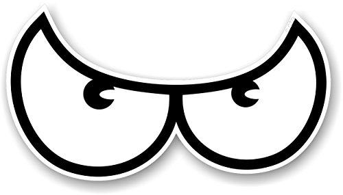 Katy Craig-Set da gioco, Angry Eyes, motivo: occhio del diavolo, motivo in bianco per moto Biker Helmet-Adesivo per auto in legno, 100 x 55 mm