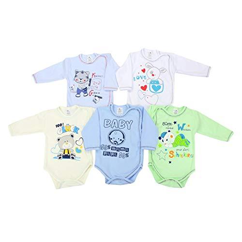 TupTam Unisex Baby Wickelbody Langarm mit Aufdruck 5er Set, Farbe: Junge, Größe: 56