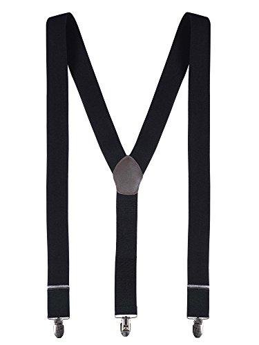 Herren Hosenträger Y-Form 3 Stabile Clips 3,5cm Breit Hochelastisch Längenverstellbar Basic Business Casual - Einfarbig Schwarz