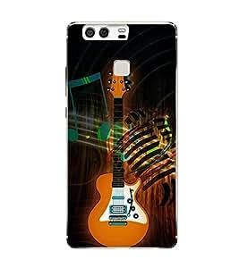 Fuson Classical Music Guitar Designer Back Case Cover for Huawei P9 (Headphones Earphones Mic Vintage Music)