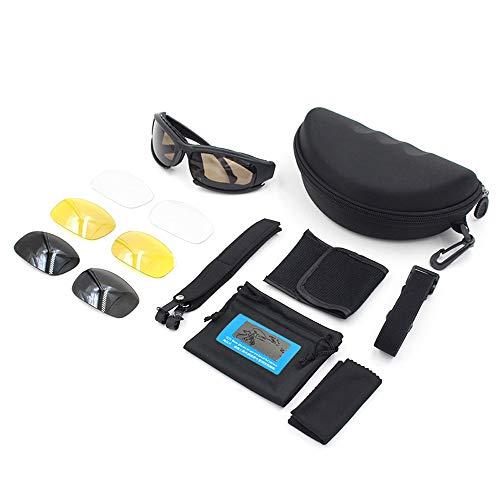 L.J.J Brille Taktische Sport-Sonnenbrille-Motorrad-Reitbrille Fahren Jagd Schießen Klettern für Unisex Brille (Color : Schwarz, Size : One Size)