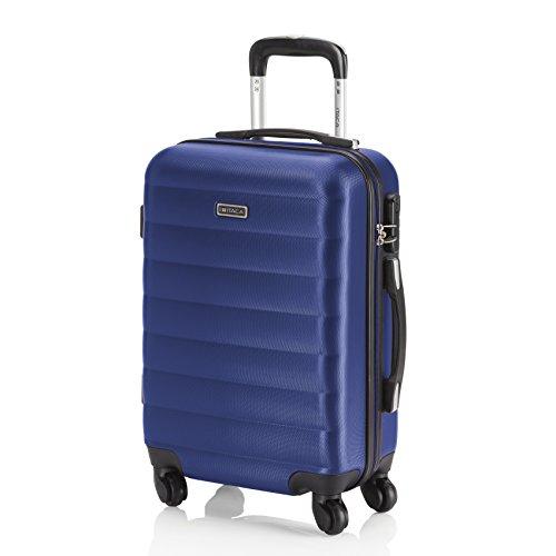 ITACA - 71250 Maleta Trolley 50 cm Cabina ABS. Equipaje de Mano. Rígida, Resistente y Ligera. Mango telescópico, 2 Asas y 4 Ruedas. Vuelos Low Cost Ryanair, Color Azul