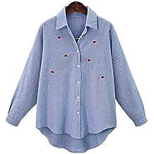 FuweiEncore Las Blusas de Gran tamaño de la Blusa de la Solapa de la impresión Primavera