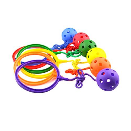 LIOOBO Skip Ball Sprungkreisel Hüpfspiel Jumping Fußkraft Ball Outdoor Sports Fitness Spielzeug 6 Stück