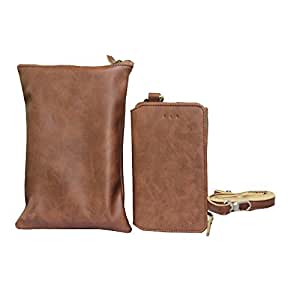 Jo Jo A7 Zara Sr Cut Series Leather Wallet sling Bag clutch Pouch Mobile Phone Case Cover For BLU Quattro 4.5 Brown