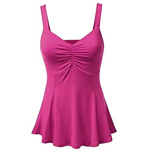 SEWORLD Damen Sommer Mode Fraue Solide Tank Tops Weste Bluse V-Ausschnitt Leibchen Ärmellos Beiläufige T-Shirts(Hot Pink,EU-42/CN-XL) (Baumwoll-spaghettiträger-leibchen)