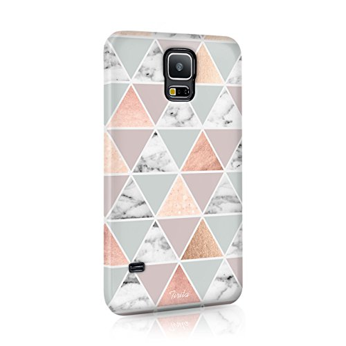 Samsung Galaxy S5 Tirita Hard Case Cover PRINTED GLITTER, NOT REAL GLITTER Marble Rose Gold Geometric Foil Polka Dots Canvas Design Bling Pattern Snap-On Protective