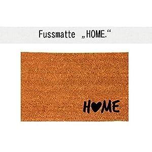 HOME (mit Herz) Kokos-Fußmatte | Fußabtreter | Türvorleger | Teppich | 40 x 60 cm | mit Spruch | Geschenk | Hochzeit | Geburtstag | Einzug | Weihnachten