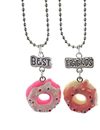 "Elegant Rose Conjuntos de 2 unidades Aleación Collares ""best friends forever and ever"" Cake Donuts Creativo Friendship Regalo para Amigos Niñas"