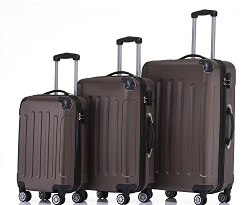 2045 Hartschale Koffer Kofferset Trolley Reisekoffer Größe XL-L-M in 12 Farben (Coffee, Set)