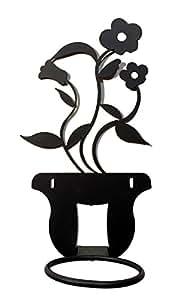 Portavaso portapiante fioriera da parete in ferro battuto di colore nero