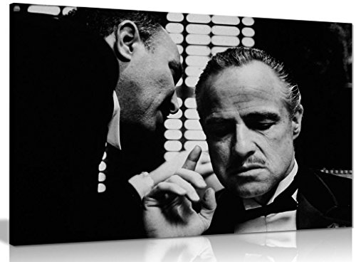 The Godfather Marlon Brando Don Corleone Gangster Bild auf Leinwand print, A2 61x41 cm (24x16in) (X Leinwand 16 24)