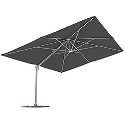 PARAMONDO Parapenda parasol à mât excentré| Parasol déporté pour jardin| 4x3m (rectangulaire/gris)/compris l'armature et le pied forant(anthracite)