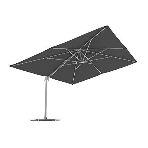 paramondo Parapenda Parasol à mât excentré| Parasol déporté pour Jardin| 4x3m (rectangulaire/Gris) / Compris l'armature et Le Pied forant(Anthracite)