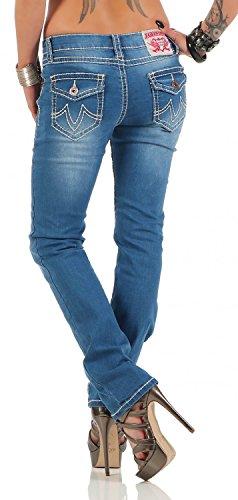 Damen Jeans Hose Gerades Bein Dicke Naht (539) Blau