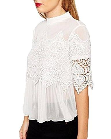 ZANZEA Women's Casual Summer Chiffon Lace Floral 3/4 Sleeve Sheer Polo Neck Tops Blouse Shirt White L