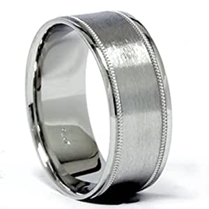 Pompeii3 Inc. Solid 950 Platinum 8MM Brushed Milgrain Comfort Fit Wedding Ring Band Mens - 9.5
