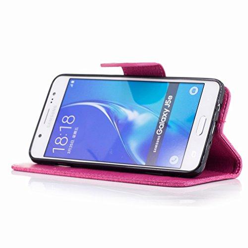 Yiizy Samsung Galaxy J5 (2016) / J510F / J510M Custodia Cover, Fiore Di Farfalla Design Sottile Flip Portafoglio PU Pelle Cuoio Copertura Shell Case Slot Schede Cavalletto Stile Libro Bumper Protettiv Red Rose