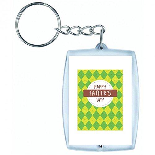 Druckerlebnis24 Schlüsselanhänger Urlaub- Vater- GLÜCKLICH- Vatertag- Karte- Argyle- Liebe- GLÜCK- Freude- Retro in Weiss   Keyring - Taschenanhänger - Rucksackanhänger - Schlüsselring -