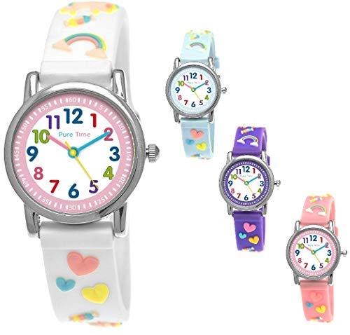 Pure Time® Einhorn Unicorn Kinder-Uhr Mädchen-Uhr Kinder Armband-Uhr Pferd Pony Tier Silikon Armband Mädchen Uhr Kinderuhr Weiß Rosa Lila Türkis Gelb Lern-Uhr Schul-Uhr 3D (Weiß - White)