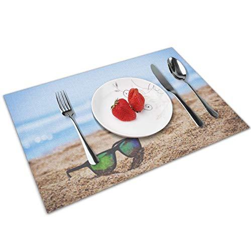 WITTN Wayfarer Sonnenbrille am Strand Sand tagsüber Platzdeckchen, waschbar, rutschfest, für Küche, Esstisch, einfach zu reinigen, PVC, 30,5 x 45,7 cm, 4er-Set