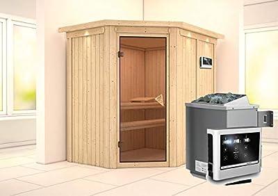 Carin - Karibu Sauna inkl. 9-kW-Ofen - mit Dachkranz - von Woodfeeling GmbH - Du und dein Garten