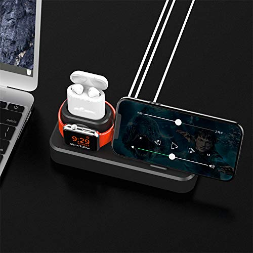 GADGETS WRAP 3 in 1 Charge Base Stand for iPhone Xs XR 8 8 Plus 7 6 Silicone Charging Stand for Apple Watch 4 3 2 for Airpods