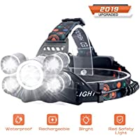 SUVOM Headlamp Rechargeable 4 Modes LED Work Headlight Waterproof Head Torch,Recharged by USB/Plug in/Car Charger (All Include),Brightest Headlight Flashlight for Camping,Running,Hiking,Fishing