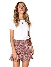 6709081625a4ee Röcke Damen Kurz Sommer Unregelmäßig Rüschen Minirock mit Gürtel Casual  Skater Rock Volantrock