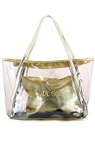 Borsa da spiaggia trasparente con sacchetto metallizzato Dorato