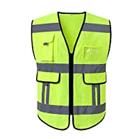 ‏‪KKmoon 120155 Reflective Safety Vest High Visibility Safety Vest Bright Neon Color Breathable Vest with 2-inch Reflective Strips for Construction sanitation Worker Roadside XL Size‬‏
