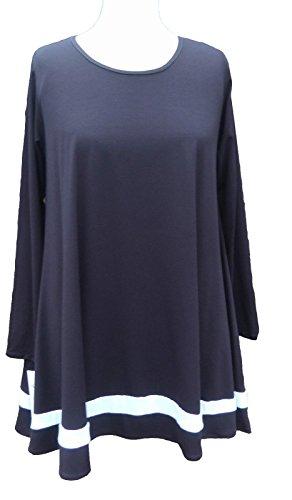 Caroline Ann C97Lagenlook tunica Swing top nero con fascia bianca Dark Peacock