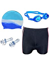 Shelby Swimming KIT(1 Swimming Goggles,1 Cap,1:Pair Ear Plug 1 Black Colour Trunk) Age Group 5-10 Years
