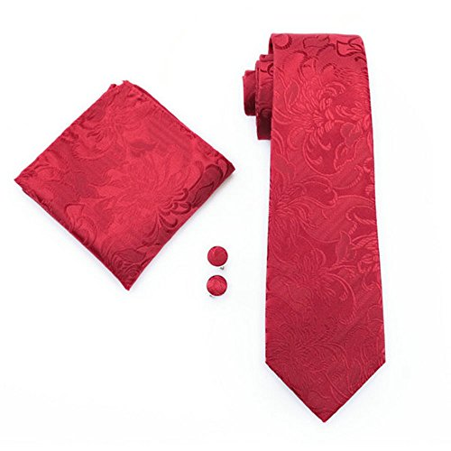 Mens formal 100% Silk neck tie, pocket square cufflink set wedding (Red paisley) (Square Red Neck)