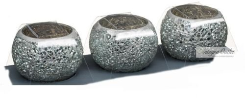 Set of 3 Silver Mosaic Candle Holders by dy&dx