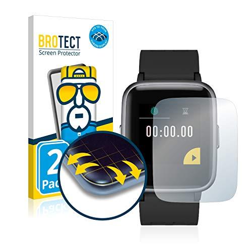 BROTECT Full-Cover Schutzfolie kompatibel mit Latec Fitness Tracker SW-045045 (2 Stück) - Full-Screen Displayschutz-Folie, 3D Curved, Kristall-Klar