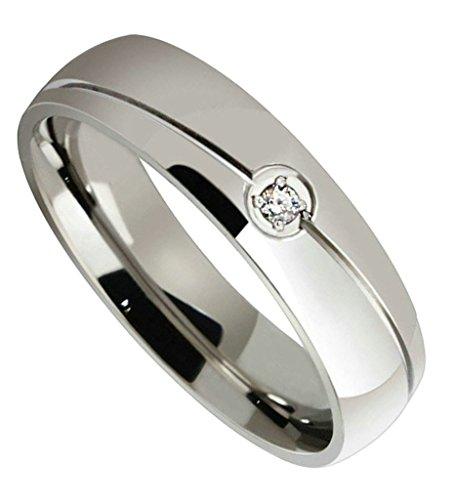 Aooaz Schmuck Unisex Ring,Winken Band CZ Zirkonia Edelstahl Ehering Verlobungsringe für Damen&Herren Silber Größe (Buch Feen Kostüm)
