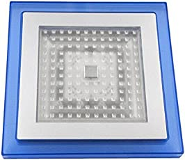 GTC 9 x 9 '' Square LED Blue Shower Head Rain Top Bathroom Light Home Sprayer Faucet