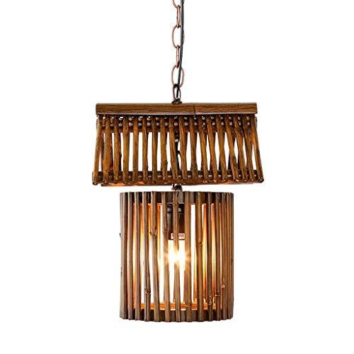 Vintage Bambus-Anhänger-Licht Wicker Wood Hotel Restaurant Dinning Room Cafe Bar Hängependelleuchte LOFT E27 Kronleuchter