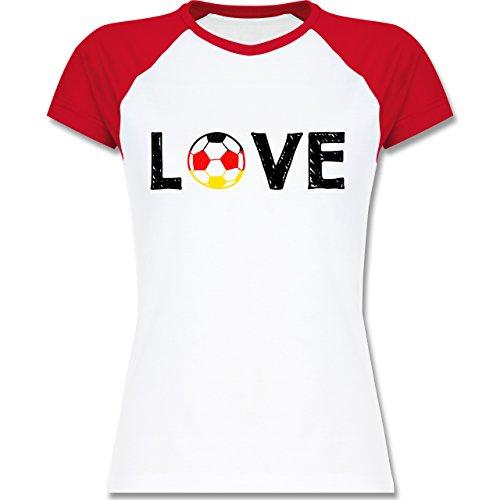 EM 2016 - Frankreich - Love Fussball Deutschland - zweifarbiges Baseballshirt / Raglan T-Shirt für Damen Weiß/Rot