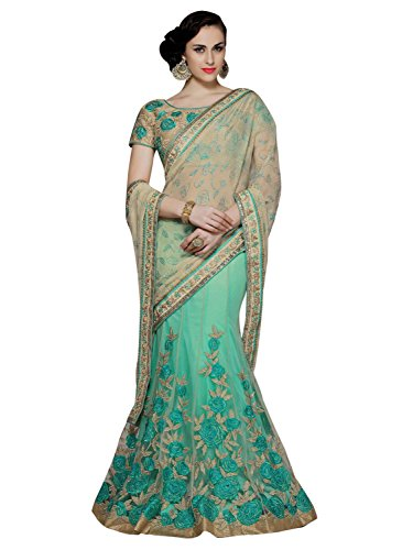 Peachmode Women's Beautiful Aqua Green - Beige Embroidered Saree