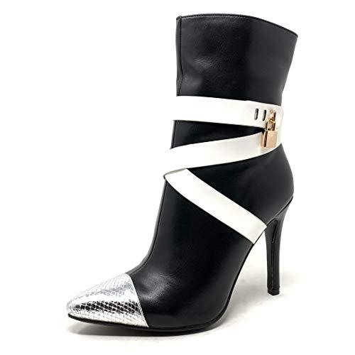 Angkorly - scarpe moda stivaletti scarponcini stivali - scarponi stiletto sexy glamour donna cinghie incrociate effetto pitone pitone dettaglio in metallo tacco stiletto alto 10.5 cm - nero h699 t 38