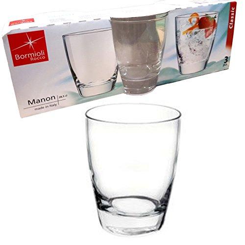 Set 3 bicchieri bicchiere basso trasparenti acqua bibita cocktail 28,5cl linea bormioli manon