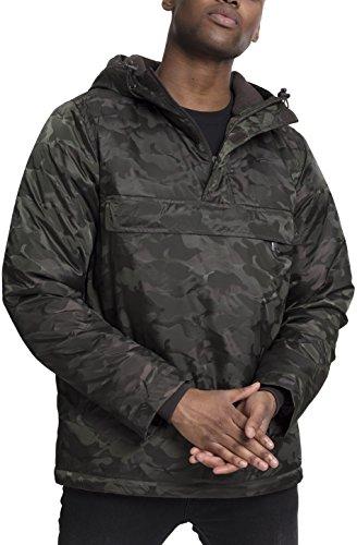 Preisvergleich Produktbild Urban Classics TB1802 Herren Windbreaker Padded Camo Pull-Over Jacket - gefütterte Camouflage Überziehjacke mit Bauchtasche und verstellbarer Kapuze - Farbe darkolive, Größe XL