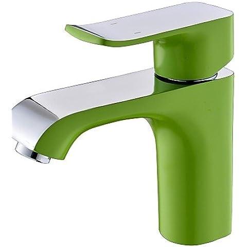 LONG-Pintura verde Contemporáneo Un agujero sola manija baño grifo del fregadero