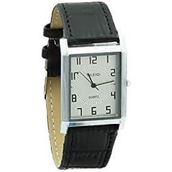 Yileiqi Men's Silver Plated Black PU Leather Strap Square Wrist Watch
