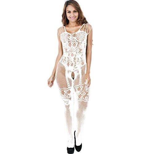 *Elecenty Dessous Damen,Reizunterwäsche Overall Jumpsuit Frauen Babydoll Unterwäsche Reizvolle Underwear Bodysuit Damenwäsche Netzstrümpfe Perspektive Nachtwäsche Nachthemd (Freie Größe, Weiß)*