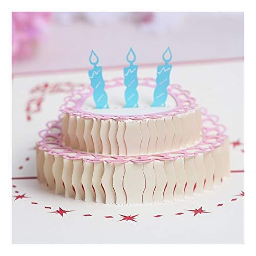 ZHOUBIN 2 fogli/set Carving and Hollowing Out 3D Cards/Greeting Cards/Regali di Natale Capodanno/Auguri di compleanno/Torte di compleanno