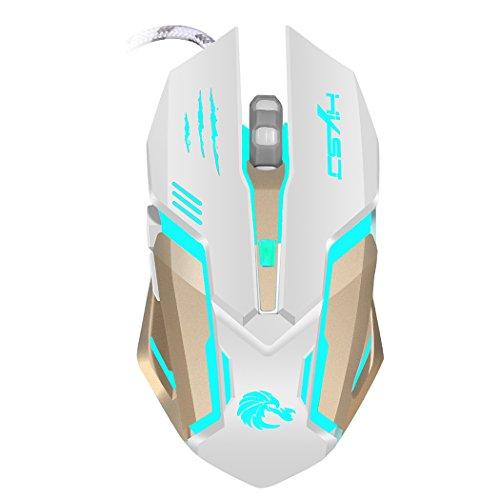 Akemiao Gaming Mouse Maus-Spiel Ergonomisches Design für einen Hauch komfortabel, langfristige Verwendung ohne Mühe und professionelle optische High-End mit 7Farben Hintergrundbeleuchtung LED bianco Apple Wireless Keyboard Kit