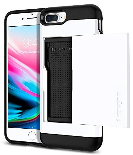 Coque iPhone 8 Plus, Spigen® Coque iPhone 7 Plus / 8 Plus [Slim Armor CS] [Noir] Slim Fit Dual Layer with Card Slot Holder Wallet Housse Pour iPhone 7 Plus / 8 Plus - (043CS20528) SACS Jet White